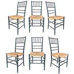 Black and Gold Faux Bamboo Chairs
