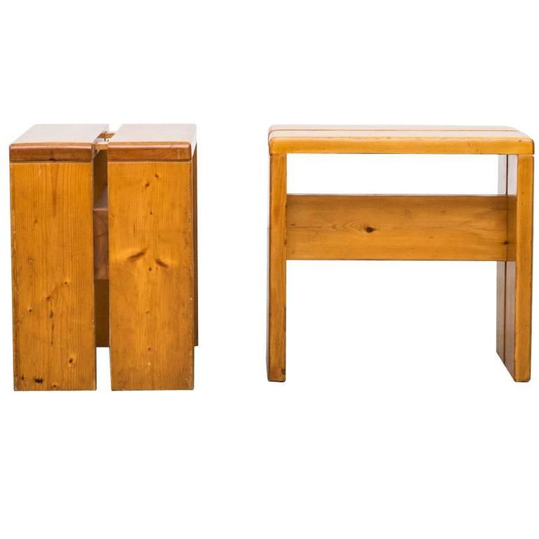 Pair of Charlotte Perriand Solid Pine Stools for Les Arcs For Sale