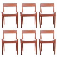 Mid-Century Modern Danish Set of Six Dining Chairs in Teak Model PJ3-2, Grete J