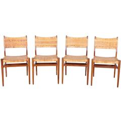 Danish Mid-Century Set of Four Dining Chairs, Aksel Bender Madsen