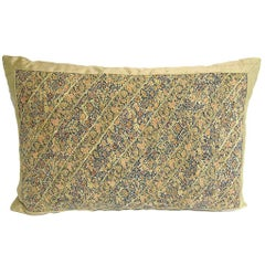Handmade Silk Pillow with 18th Century Persian Embroidered Panel
