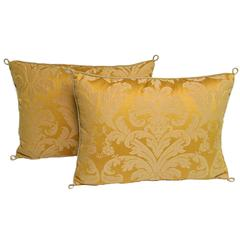 Pair of Handmade Yellow Damask Pillows with a Floral Pattern