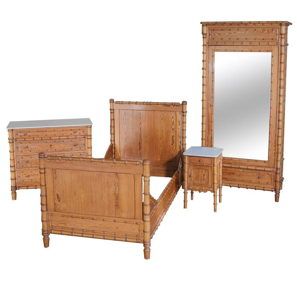 19th century french faux bamboo bedroom suite at 1stdibs for Bamboo bedroom furniture