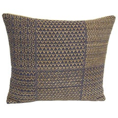 Set of Five Pillows Made from Vintage Handwoven Blue and Natural Linen