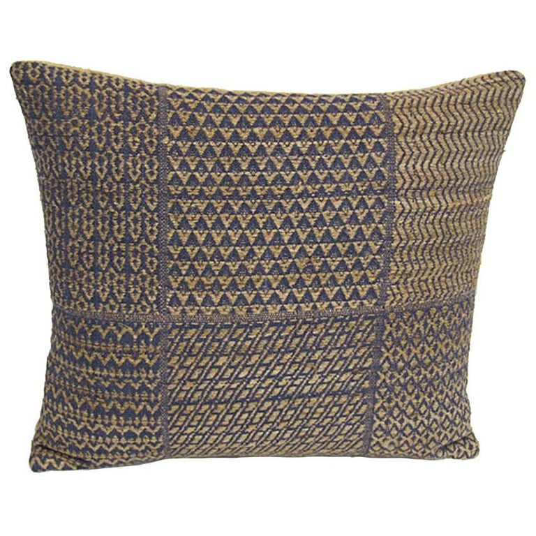 Set of Five Pillows Made from Vintage Handwoven Blue and Natural Linen For Sale