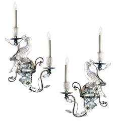 Elegant Pair of French Mid-Century Maison Bagues Silver-Leafed and Glass Sconces