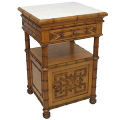 Napoleon III Faux Bamboo Bedside Table Cabinet