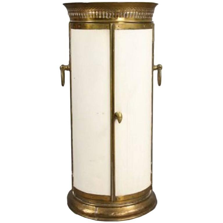 Empire Style Tole Brass Cylindrical Plate Cabinet