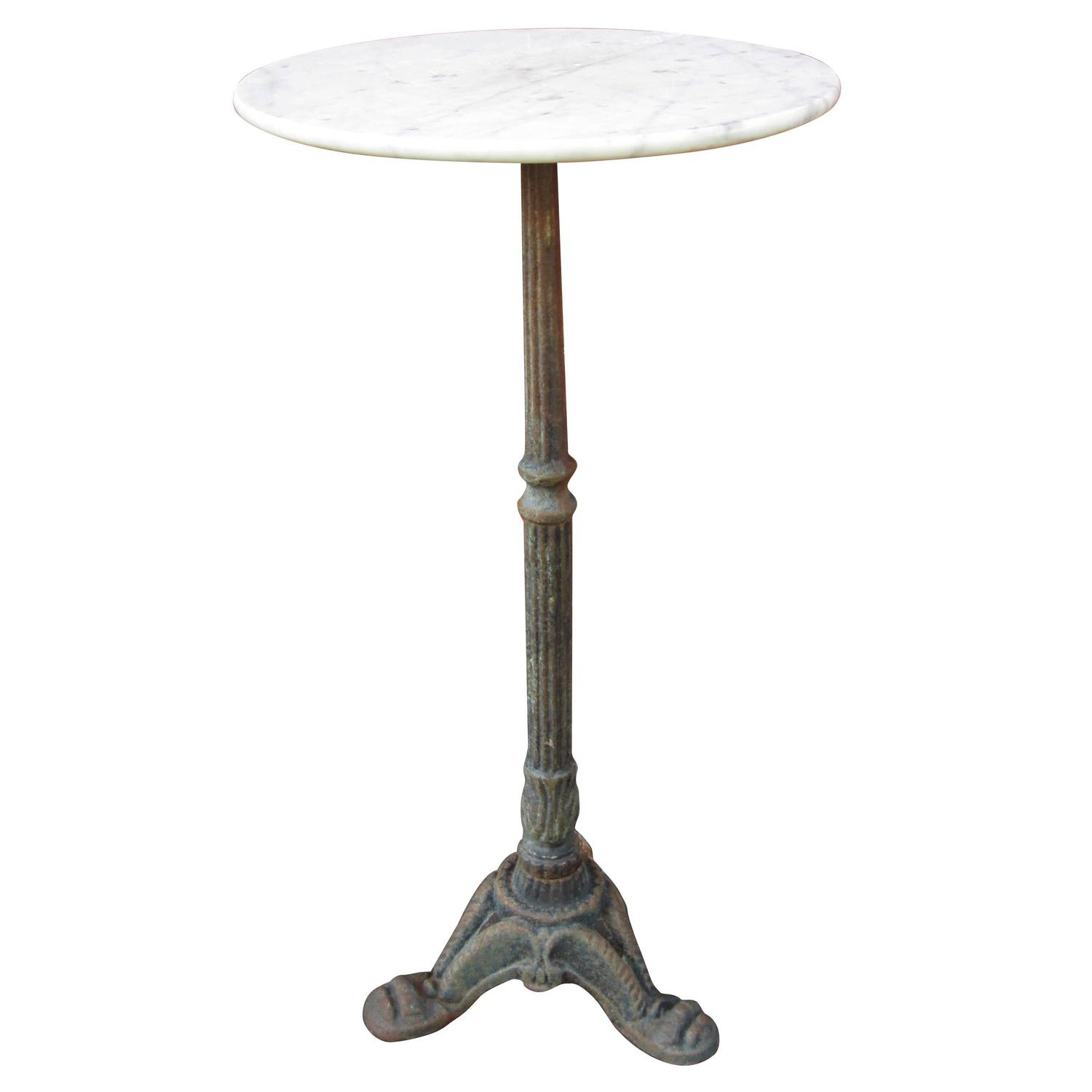 Diminutive marble occasional table with ornate cast iron for Cast iron end table