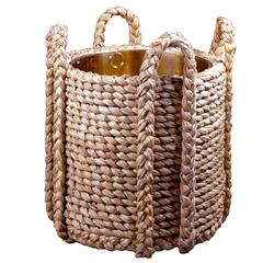 Rush Log Basket with Polished Brass Liner