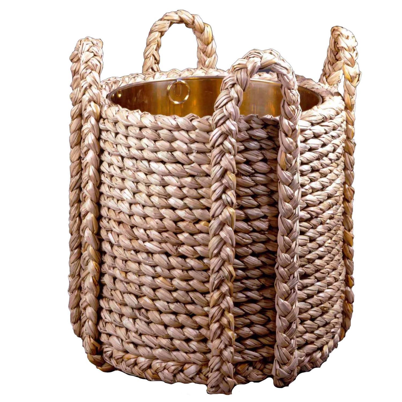 Rush Log Basket With Polished Brass Liner For Sale At 1stdibs