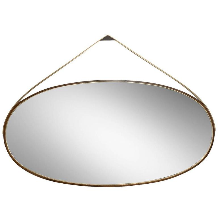 Gotham Oval Mirror -  Customizable Wood and Metal  For Sale