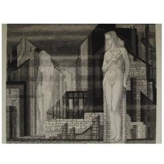 "Haunting European WWII Era Signed Etching ""La Ville Morte"""