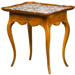 18th Century Rococo Tiled Table with Curved Legs and One Drawer