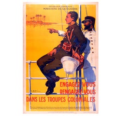 Original 1930s French War Propaganda Poster, Join or Rejoin the Colonial Troops