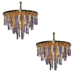 Pair of Mid-Century Glass, Art Glass Ceiling Fixtures