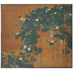 Screen with Flowering Gourds and Insects