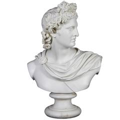 Large Antique Porcelain Bust of Apollo of Belvedere, French Signed & Engraved