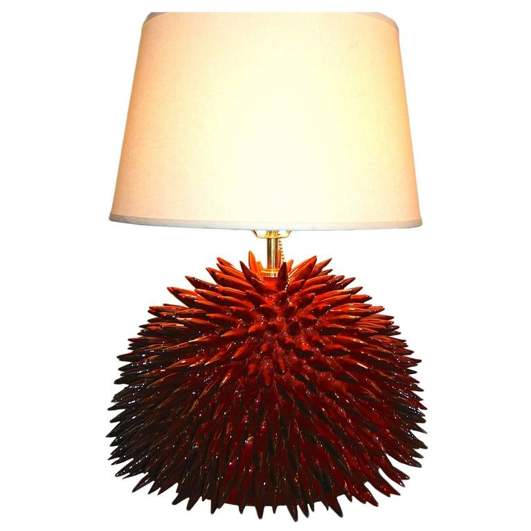 Single Red-Glazed Ceramic 'Porcupine' Table Lamp