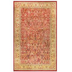 Beautiful Red Background Antique Indian Amritsar Rug