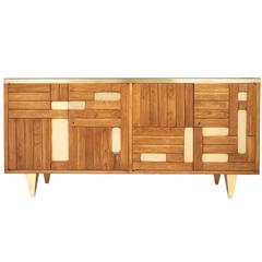 Italian Modernist Oak and Parquetry Buffet