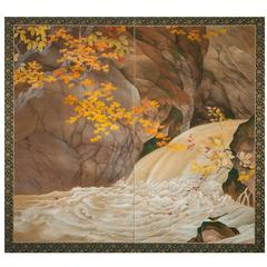 "Japanese Two-Panel Screen ""Waterfall and Maple Tree in Autumn Scenery"""