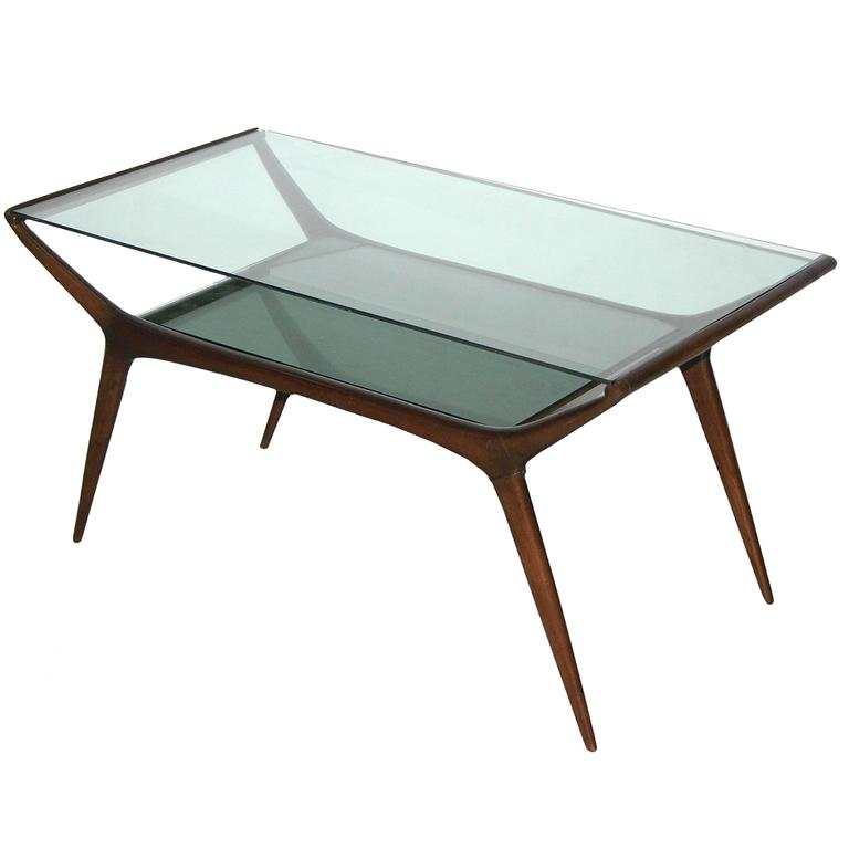 Ico Parisi 1950s Italian Modern Two Tier Mahogany And Glass Sofa Or Coffee Table For Sale At 1stdibs