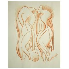 "Alexander Archipenko Original Color Lithograph Titled ""Bathers"""