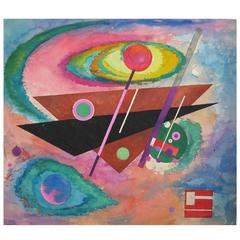 Rolph Scarlett Original Watercolor Dated 1952, Geometric Abstraction