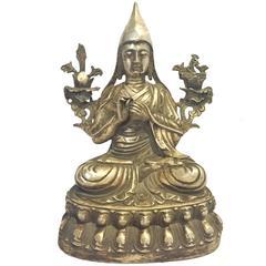 Antique Silver Bronze Tibetan Teacher, God of Wisdom, Large