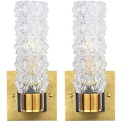 Murano Pair of Glass and Brass Wall Sconces