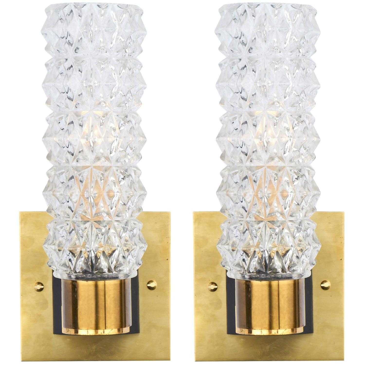 Beautiful Murano Pair Of Glass And Brass Wall Sconces For Sale At 1stdibs