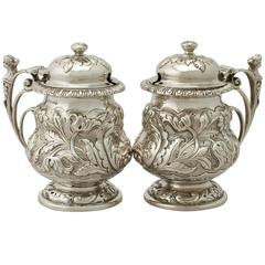 Antique George V Pair of Sterling Silver Mustard Pots