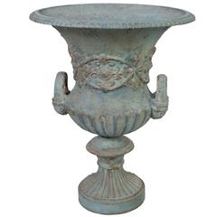 Large Blue Painted Medici Urn