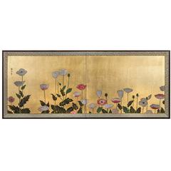 "Japanese Two-Panel Screen ""Poppy Flowers"""