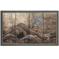 "Japanese Four-Panel Screen ""Ocean Wave and Silver Moon on Silver"""