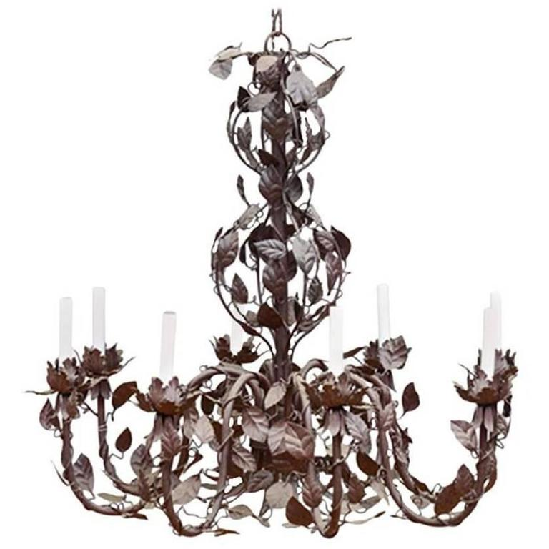 Large French Tole Chandelier with Vinework