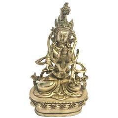 Silver Bronze Tibetan Yab-Yum Interlocking Buddhas Statue