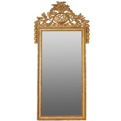 Ornate Louis XVI Split Plate Gilded Mirror, 19th Century