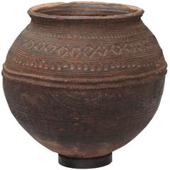 Nigerian African Terracotta Pottery Storage Jar Impressed and Incised Geometric