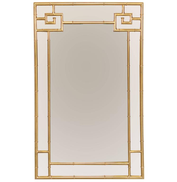 Solid Brass Mastercraft Greek Key Mirror, 1970s 1