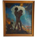Large American Romantic Surrealism Oil Painting by Francis W. Cowell, circa 1949