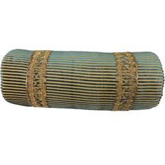 19th Century Silk Cut-Velvet Bolster Pillow