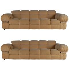 Pair of Matching Mid-Century Italian Modern Sofas After Mario Bellini