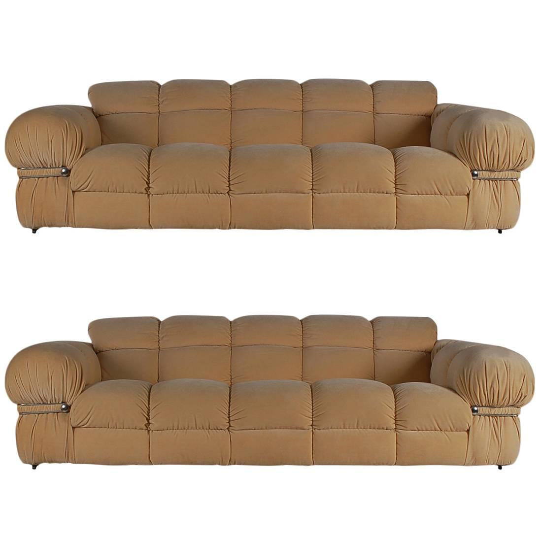 Pair Of Matching Mid-Century Italian Modern Sofas After Mario Bellini At  1stdibs