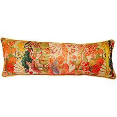 Vintage Japanese Silk Obi Kimono and Velvet Pillow