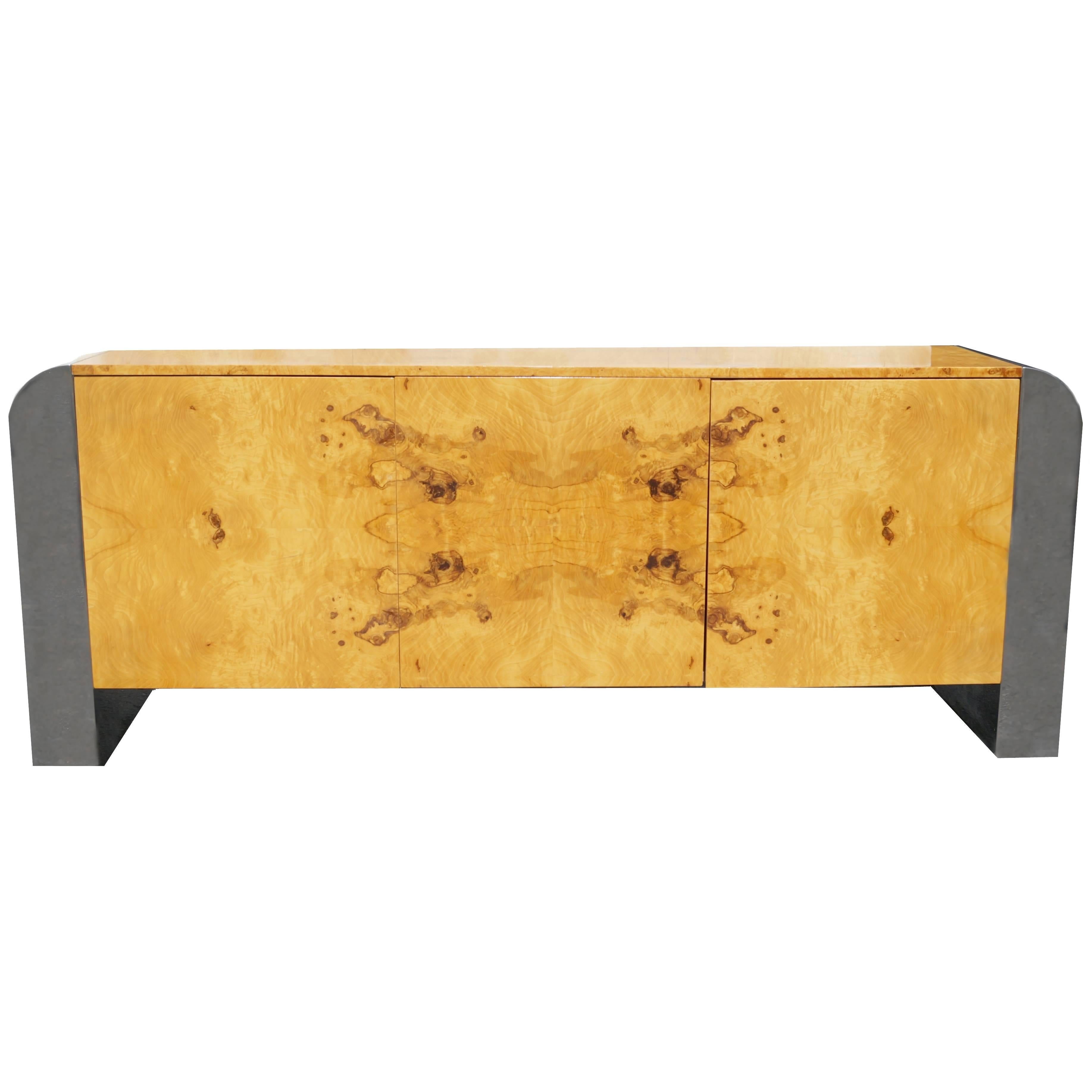 Pace Collection Burl Wood Credenza or Sideboard Steel Waterfall