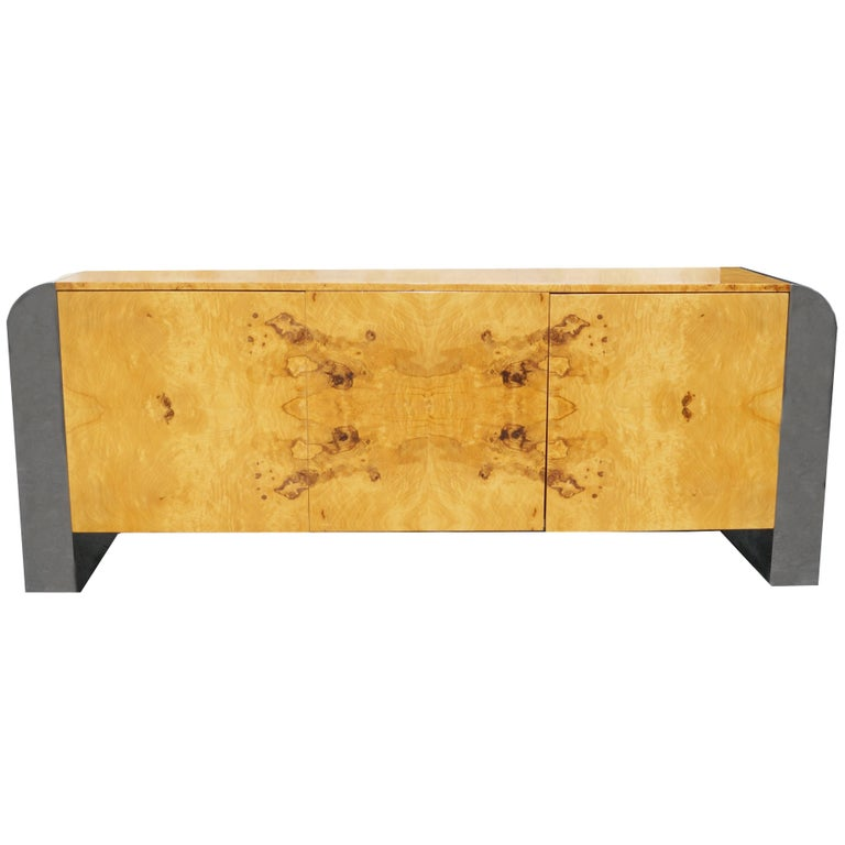 Pace Collection Burl Wood Credenza or Sideboard Steel Waterfall For Sale