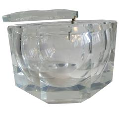 Extra Large Faceted Lucite Ice Bucket Modernist Swivel Lid