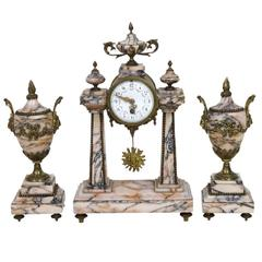 Three-Piece French Marble and Bronze Clock Set